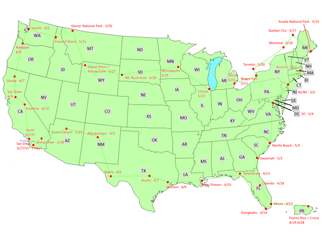 US Travel Map - With Lines, filled in green